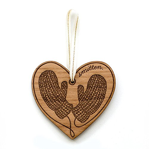 Smitten Mittens Laser Cut Wood Ornament (Christmas / Holiday / Personalized Available / Anniversary / Newlyweds / Keepsake / Our First Christmas)