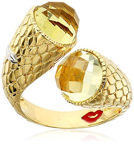 Gold Plate Lemon Quartz Over Bypass Ring, Size (Gold Lemon Quartz Ring)