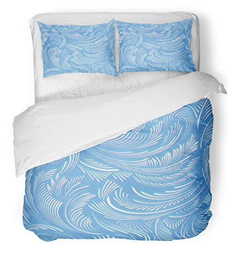 Emvency 3 Piece Duvet Cover Set Breathable Brushed Microfiber Fabric Winter Blue Pattern of Frost Snow Ice Frosty Window Snowflake Effect Abstract Bedding Set with 2 Pillow Covers Twin Size