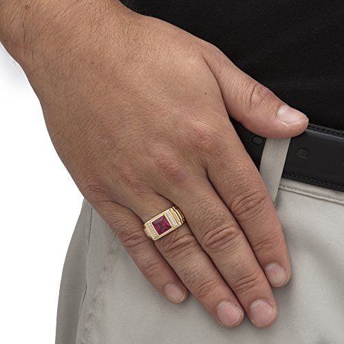 Men's 18K Yellow Gold over Sterling Silver Simulated Red Ruby and Diamond Accent Ring Size 13