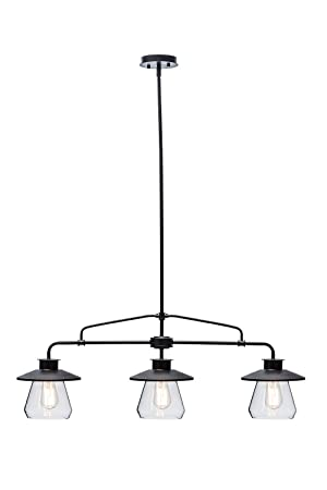 globe electric 3 vintage hanging pendant light fixture with clear glass shades oil rubbed