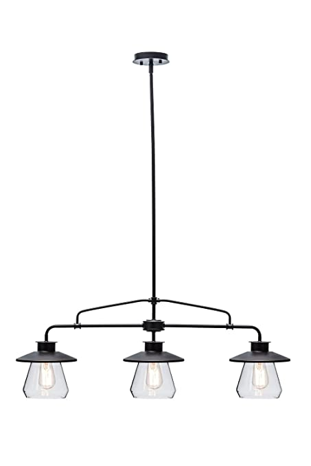 Globe electric 64845 nate 3 light pendant bronze oil rubbed finish clear