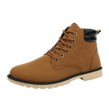Xinantime - Botas de Tobillo de Hombre Botas de Piel sintética Zapatos de Cordones cálidos de