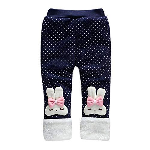 Baby Girl Winter Warm Pants Plus Thick Velvet Rabbit Polka Dot Bowknot Christmas Pants Jogger Snow Trousers Leggings (Navy, 12 Months)