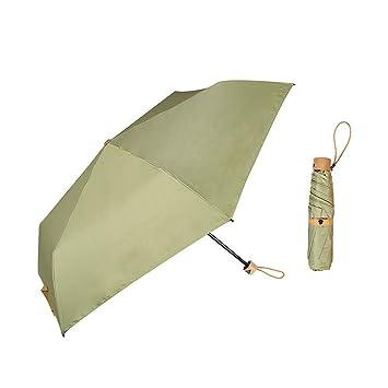 hfudfrvhfjdg Paraguas plegable paraguas mujer paraguas Sun ultra-light tres anti-ultravioleta, verde