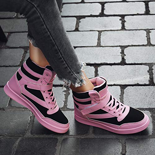 Fashion 5cm 5 Casual Pink Boots Booties Wedge Sneakers Shoes Sports Black Trainers Hidden Platform Top Ubfen High Women's Heel Ankle pTHqCYC0W
