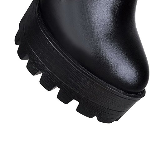 Black Round Closed Boots High with Platform toe Style Women's Curves heels and toe AmoonyFashion 6nwCqOxpS