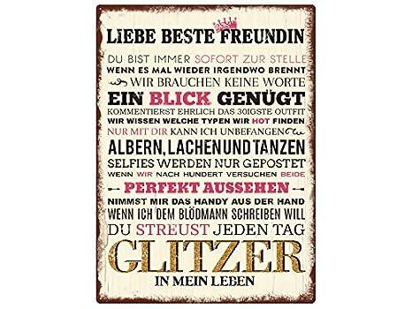 Wandschild Metallschild Liebe Beste Freundin Geschenk Frau