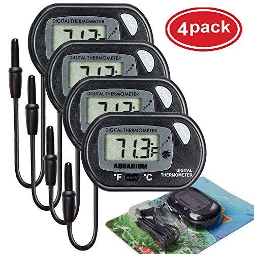 AUTIDEFY LCD Digital Aquarium Thermometer Fish Tank Water Terrarium Temperature (4 Pack)
