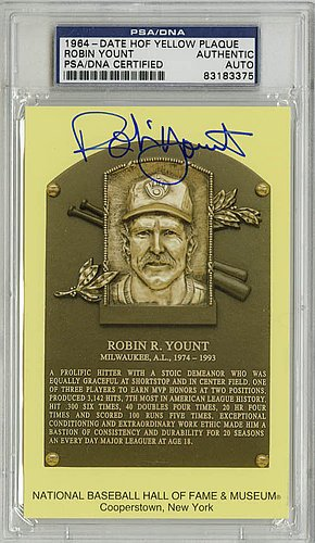 Robin Yount Autographed Signature Baseball Hall Of Fame Plaque Brewers - PSA/DNA ()