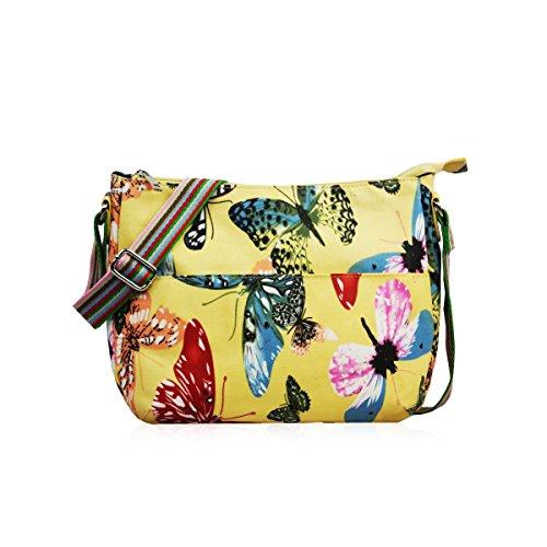 Bandolera, bolsa de hombro cruzada de diseñador, tela mate con estampado de mariposas amarillo