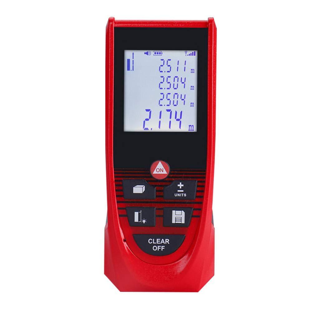 LCD r/étro/éclair/é 4 lignes et unique Mute Fonction imperm/éable /à leau T/él/ém/ètre laser 1 mW outil de mesure num/érique portable avec niveau /à bulle batterie incluse Laser Mesure