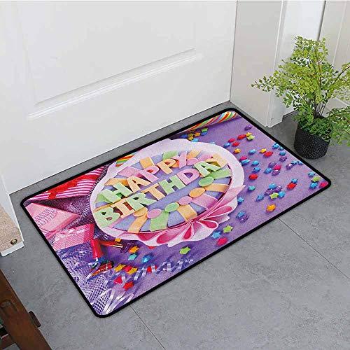 ONECUTE Crystal Velvet Doormat,Birthday Delicious Birthday Cake on