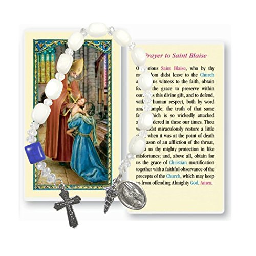 - The Holy Chaplet of St Saint Blaise the Physician White Marble Stones Includes a Prayer Card Blessed By His Holiness