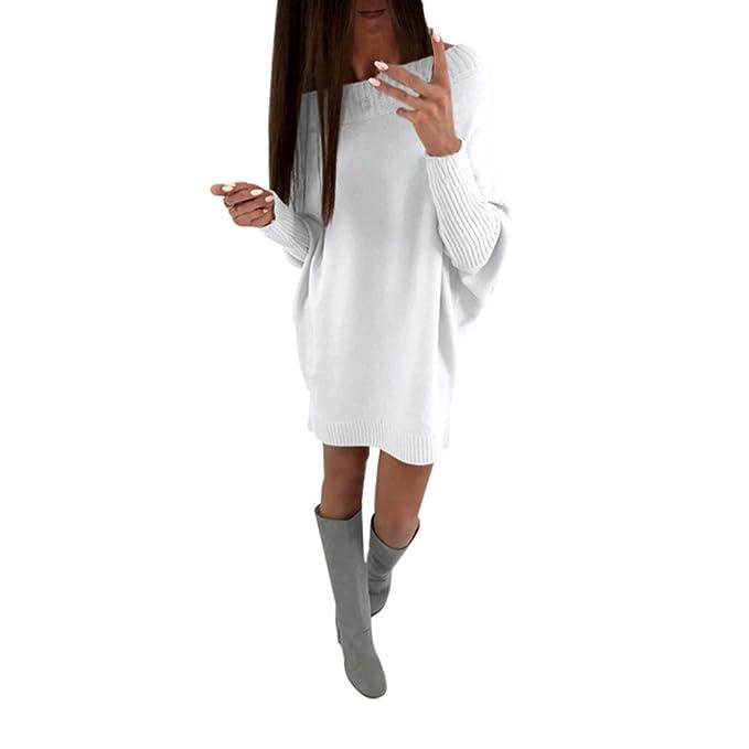 Jersey Mujer Punto Otoño Invierno Largos Básicos Elegante Moda Abrigo Loose Mangas De Murciélago Jerseys Tejer