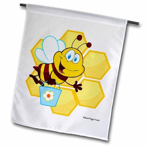 3dRose fl_58853_2 Happy Little Bumble Bee Garden Flag, 18...