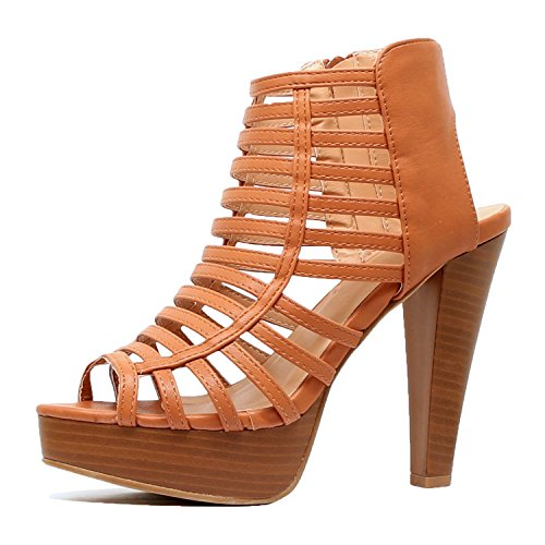 Guilty Shoes Womens Cutout Gladiator Ankle Strap Platform Fashion High Heel Stiletto Sandals (7 B(M) US, Tanv4 Pu)