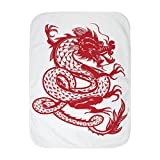 Royal Lion Baby Blanket White Chinese Dancing Dragon
