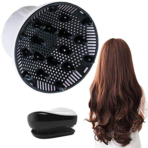Hair Diffuser, Universal Hair Diffuser for Hair Dryer, Hair Dryer Diffuser Suitable for 1.4-inch to 2.6-inch Blow Dry, Professional Salon Tool for Fine Thick Curly Frizzy and Wavy Hair (White) (Best Diffuser For Wavy Hair)