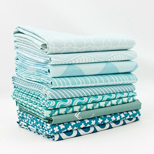 Blue Fq Quilting Fabric - Aqua - Light Blue Fat Quarter Bundle (LB.10FQ) by Mixed Designers for Southern Fabric
