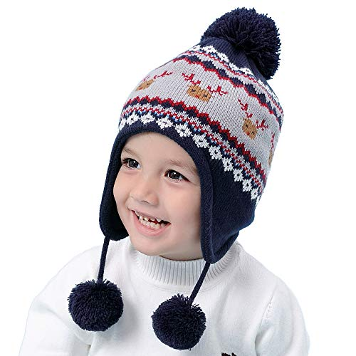 RUHI Baby Hat, Toddler Winter Hat with Earflap Warmth Cute Pom Beanie Hats for Kids (XL)