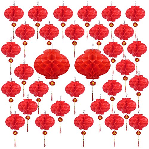 Livder 32 Pieces Chinese New Year Red Paper Lanterns Spring Festival Hang Lantern Decorations, 17 Inch and 10 Inch