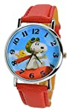 Peanuts Snoopy & Woodstock Modern Analog Wrist Watch For Women Men Children. X Large Watch Dial. (RED)