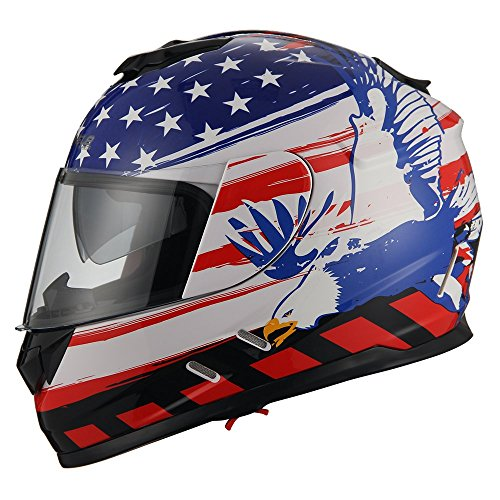 Triangle Motorcycle Street Bike Dual Visor Helmets DOT Approved (Medium, American Flag) (Helmet Motorcycle Flag)