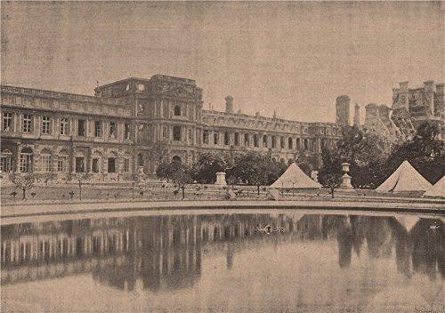 PARIS COMMUNE 1871. Les Tuileries (vue prise du Jardin) - c1873 - old print - antique print - vintage print - Paris art prints