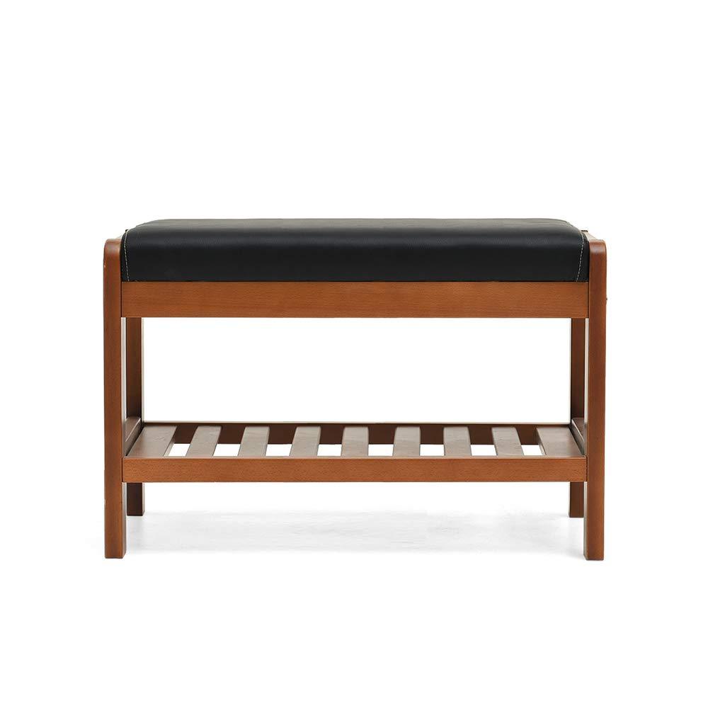 Walnut color 6533.540cm ZZHF dengzi Change shoes Bench, Cushion Thickened Storage Shelf Entrance Passage Bedroom Living Room Corridor Garage (color   Walnut color, Size   50  33.5  40cm)