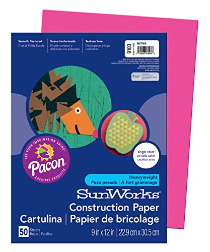 "Pacon SunWorks Construction Paper, 9"" x 12"", 50-Count, Hot Pink (9103)"
