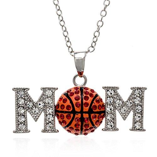 PammyJ Orange Crystal Basketball Mom Pendant Necklace, 18'' by PammyJ