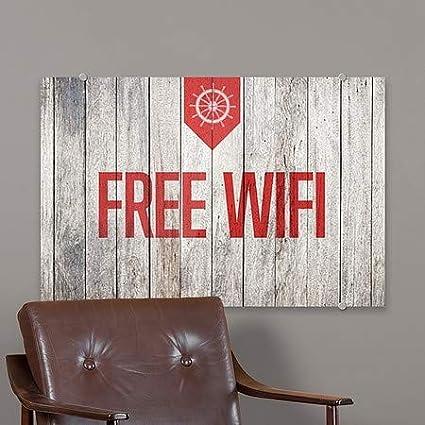 Free WiFi CGSignLab 36x24 Nautical Wood Premium Acrylic Sign