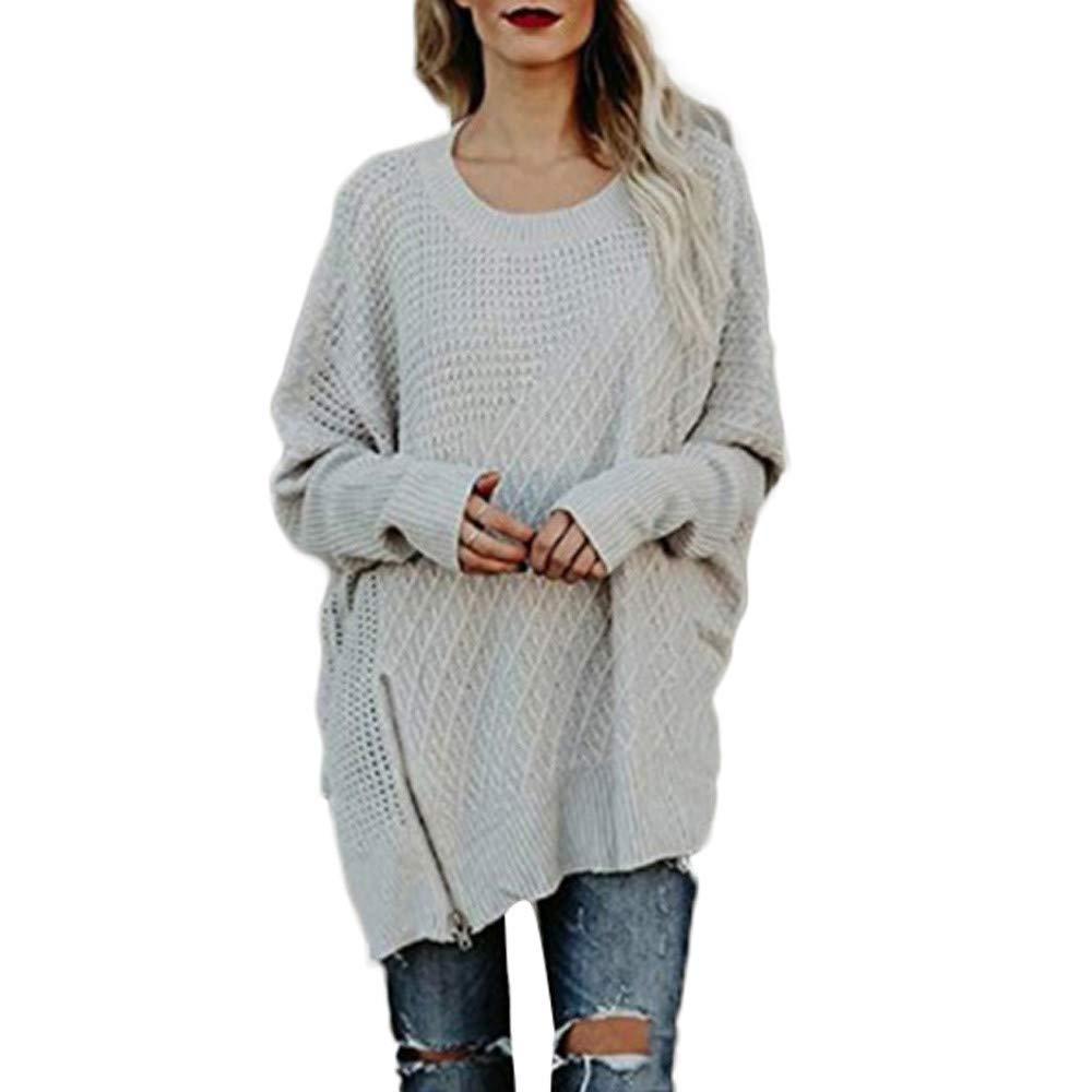 Duseedik Women Casual Solid Long Sleeve Pullover Loose Sweater Jumper Tops Knitwear