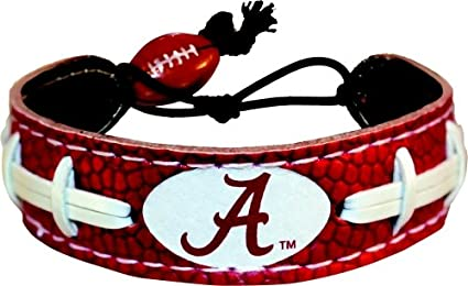 Amazon Com Alabama Crimson Tide A Logo Team Color Football Bracelet Sports Fan Bracelets Sports Outdoors