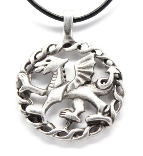 Pewter Welsh Red Dragon from Wales Flag Pendant, Leather Necklace Ladies Welsh Dragon
