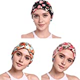 YI HENG MEI Women's Elegant Floral Pleated Indian Turban Hat Chemo Cancer Cap Sleep Cap,Pack of 3(Pink+Blue+Black Flower£