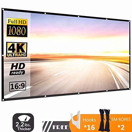 120 Inch 16:9 HD Projector Screen, P-JING Portable Widescreen Foldable Anti-Crease Indoor Outdoor Projector Movies Screen for Home Theater Support Double Sided ()