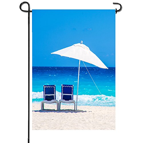 Artsbaba Garden Flags Sun Chairs Tropical Beach Garden Flag