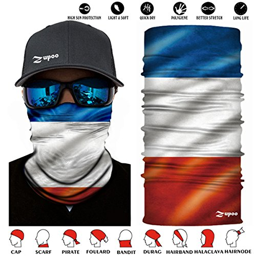 Zupoo TM Flag Series 16-in-1 Multifunctional Headband Sports Magic Scarf,Collars Muffler Scarf Face Mask,French flag under lights