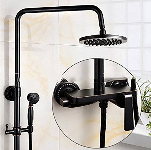 YYF-SHOWER Sistema de ducha Americano Antiguo Montado En La Pared Alcachofa De La Ducha Accesorios De Cobre, Spray Superior...