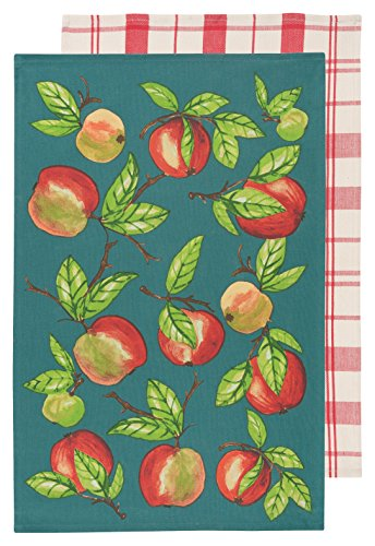 Kitchen Dishtowels, Set of Two, Apple Orchard, 2 Piece