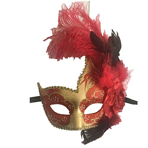 Storm Buy] Women Lady Girls Costume Venetian mask Feather Masquerade Mask Halloween Mardi Gras Cosplay Party Masque (Red)