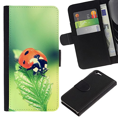 EuroCase - Apple Iphone 6 4.7 - The Ladybug - Cuir PU Coverture Shell Armure Coque Coq Cas Etui Housse Case Cover