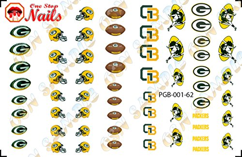 Green Bay Packers Waterslide nail decals (Tattoos) V1 (Set of 62)