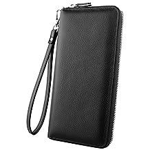 Luxspire RFID Blocking Wallet Long Handbag Large Capacity Genuine Leather Purse Clutches Bifold Multi Card Holder Organizer Phone Bag for Men Women, Black