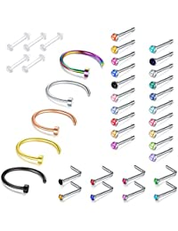 Nose Stud Ring, 5PCS-33PCS 22G 316L Surgical Stainless Steel Incaton Body Jewelry Piercing Nose Ring