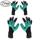 Inf-way Garden Genie Gloves, 2 Pairs of Both Hand Claws Gardening Gloves for Digging & Planting