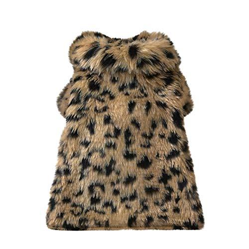 Lethez Winter Warm Shirt for Pet Pet Dogs Leopard Faux Fur Coat Puppy Sweater Apparel Costume Clothing (XL, Brown) ()