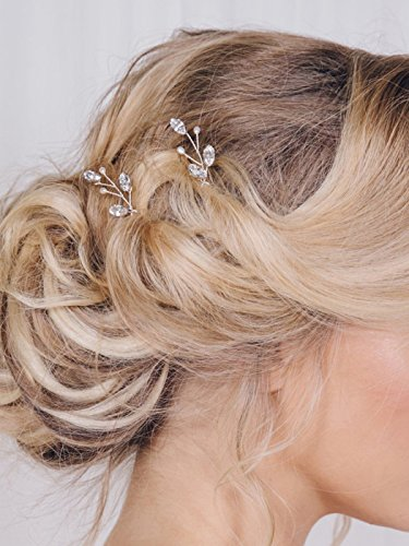 Artio Wedding Hair Pins Accessories with Crystals and Beads for Brides and Bridesmaids 3PCS (Silver)